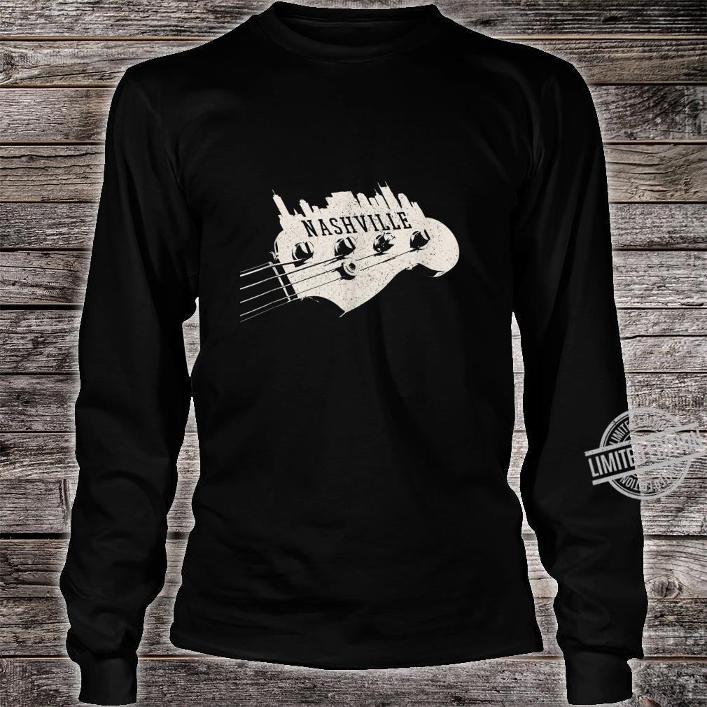 Nashville Skyline Bass Guitar Country Music City souvenir Shirt long sleeved