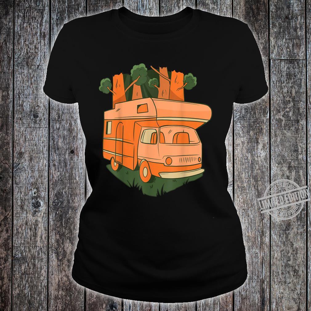 Nature caravan going through the woods, Summer camping car Shirt ladies tee
