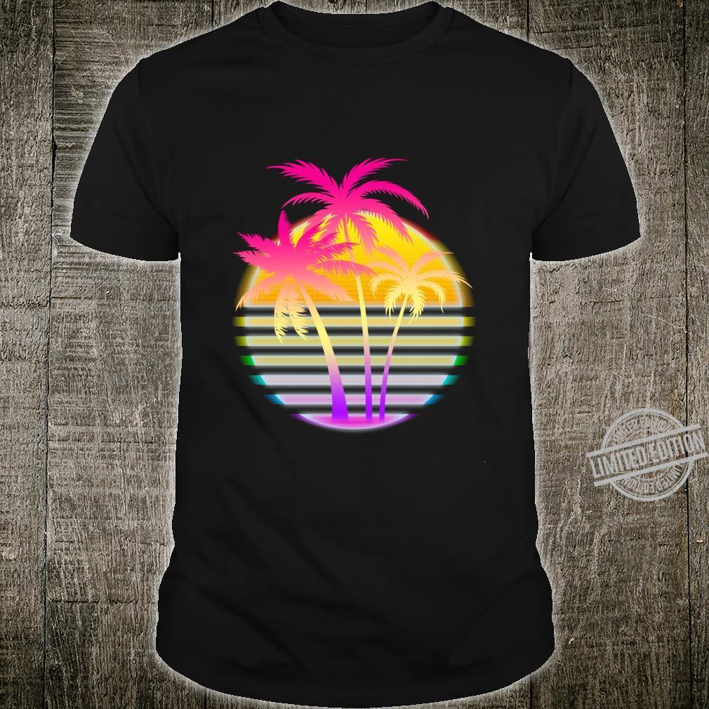 Retro 1980s 1990s Vaporwave Palm Trees Beach Surf Sunset Art Shirt