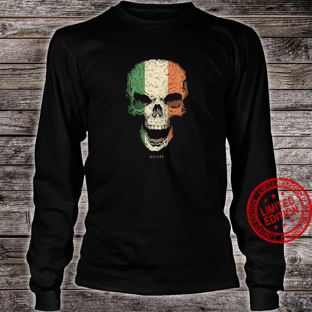 Skull With Ireland Flag Skeleton Irish Roots Shirt