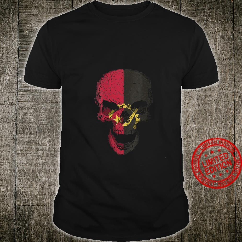 Womens Skull with Angola Flag Skeleton Angolan Roots Shirt